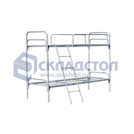 Кровать двухъярусная с лестницей и ограждением для общежитий