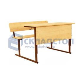 """Стол ученический двухместный регулируемый """"Моноблок"""" (парта двухместная) 3-5 гр. с наклоном столешницы"""